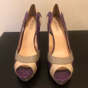 GUESS Purple heels with grey, nude, and orange